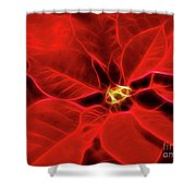 Poinsettia Red Christmas Flower Abstract Artwork Shower Curtain