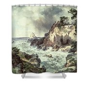 Point Lobos At Monterey In California Shower Curtain by Thomas Moran