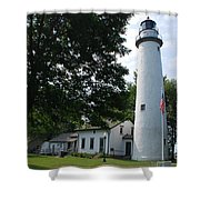 Pointe Aux Barqes Lighthouse Shower Curtain