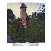 Pointe Aux Barques Lighthouse 7072 Shower Curtain