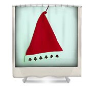 Polaroid Of A Christmas Hat Shower Curtain