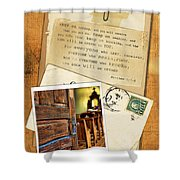 Polaroid Of Open Door To Church With A Bible Verse Shower Curtain
