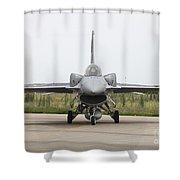 Polish F-16c Block 52 At Albacete Shower Curtain