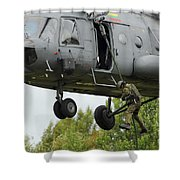 Polish Special Forces Member Fast-ropes Shower Curtain