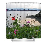 Poppies By The River Shower Curtain