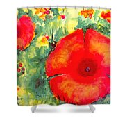 Poppies Face To The Sun Shower Curtain