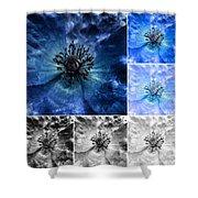 Poppy Blue - Macro Flowers Fine Art Photography Shower Curtain