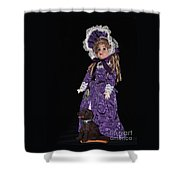 Porcelain Doll - Full View With Puppy Shower Curtain