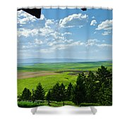 Porch View Of Wilsall Valey Shower Curtain