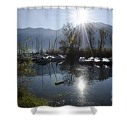Port In Backlight Shower Curtain