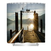 Port On In Sunset Shower Curtain