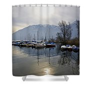 Port With Snow-capped Mountain Shower Curtain