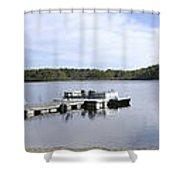 Portage Lake Panorama Shower Curtain