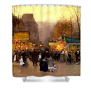 Porte St Martin At Christmas Time In Paris Shower Curtain