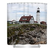 Portland Head Light Cape Elizabeth Fort Williams Maine Shower Curtain