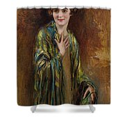 Portrait Of A Girl With A Green Shawl Shower Curtain