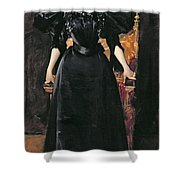 Portrait Of A Lady In Black Shower Curtain by William Merritt Chase