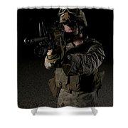 Portrait Of A U.s. Marine Wearing Night Shower Curtain