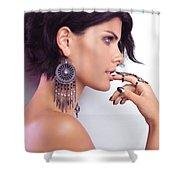 Portrait Of A Woman Wearing Jewellery Shower Curtain