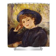 Portrait Of Mademoiselle Demarsy Shower Curtain by Pierre Auguste Renoir
