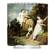 Portraits Of The Children Of The Rev. Joseph Arkwright Of Mark Hall Essex Shower Curtain