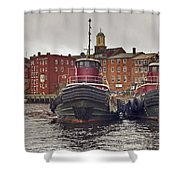 Portsmouth Tugs Shower Curtain by Joann Vitali