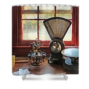 Postage Scale And Rubber Stamps Shower Curtain