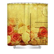 Postcard With Floral Pattern Shower Curtain