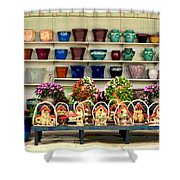 Pots And Birdhouses Shower Curtain