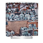 Pottery Market Shower Curtain