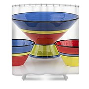 Pottery On White Shower Curtain