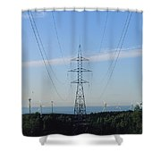 Power Lines Lead From Windmills Shower Curtain