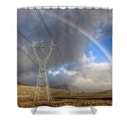 Powerlines, Rainbow Forms As Evening Shower Curtain