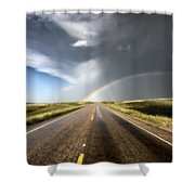 Prairie Hail Storm And Rainbow Shower Curtain
