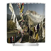 Prayer Flags Hang In The Breeze Shower Curtain