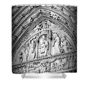Prayers At Notre Dame - Black And White Shower Curtain