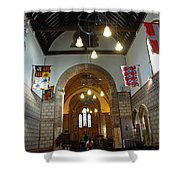 Praying At The St Mary Church Inside Dover Castle In England Shower Curtain