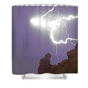 Praying Monk Lightning Halo Monsoon Thunderstorm Photography Shower Curtain