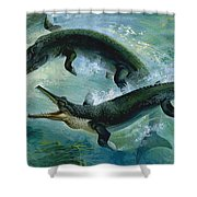 Pre-historic Crocodiles Eating A Fish Shower Curtain