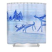 Prehistoric Scenic Shower Curtain