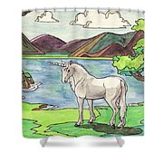 Prehistoric Unicorn Shower Curtain