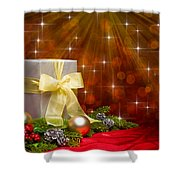 Present Sock Shape Short Bread Cookie In Christmas Tree Shower Curtain