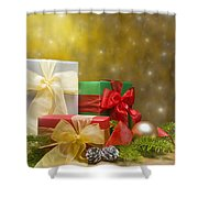 Presents Decorated With Christmas Decoration Shower Curtain