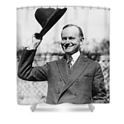 President Calvin Coolidge Tips Is Hat Shower Curtain