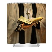 Priest With Open Bible Shower Curtain by Jill Battaglia