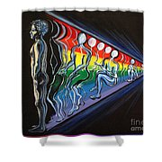 Projection With Rainbow Scroll Border Shower Curtain