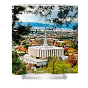 Provo Temple Pine Frame Shower Curtain