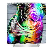 Psychedelic Black Lab With Kerchief Shower Curtain
