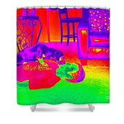 Psychedelic Doggy Love Shower Curtain
