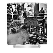 Puffing Billy Black And White V2 Shower Curtain